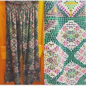 Mossimo Supply Co. Pants - Purple & Green Geo Print Palazzo Pants